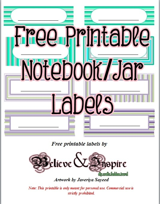 free printable for jars, notebooks, boxes