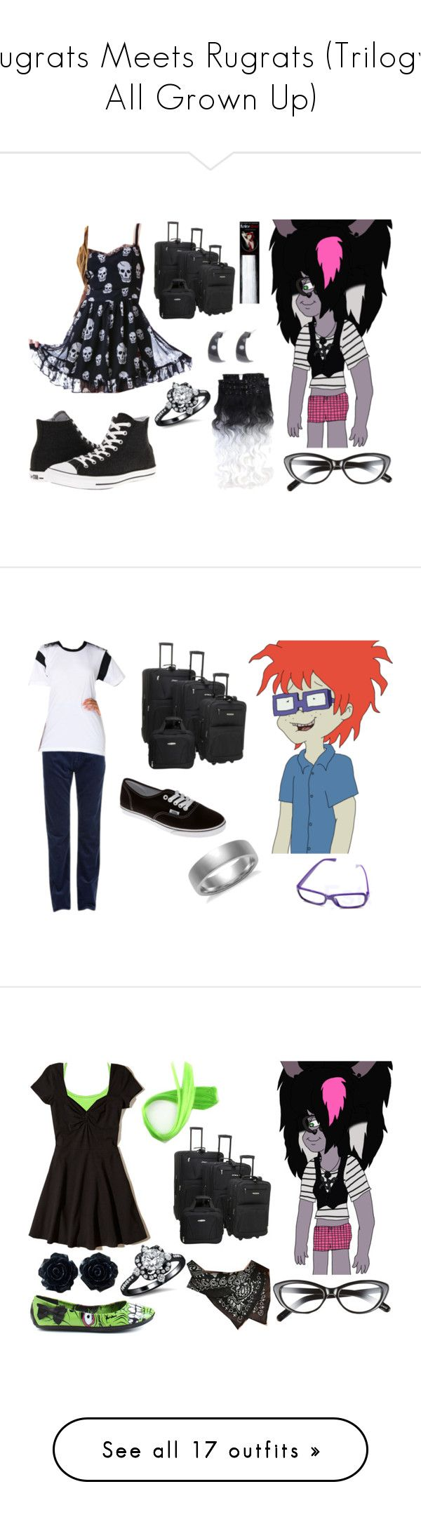 """""""Rugrats Meets Rugrats (Trilogy; All Grown Up)"""" by brainyxbat ❤ liked on Polyvore featuring Elizabeth and James, Tripp, Converse, claire's, Rockland Luggage, Blue Nile, GANT, American Apparel, Vans and men's fashion"""