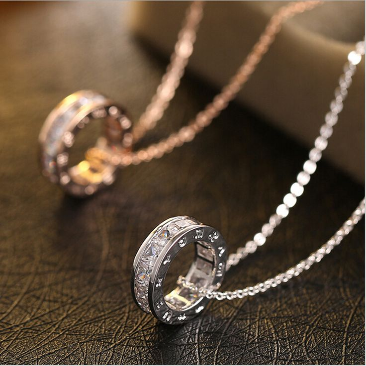 European and American fashion horoscope zircon drill  Necklace Pendant full circle chain simple clavicle Free Delivery-in Chain Necklaces from Jewelry on Aliexpress.com | Alibaba Group