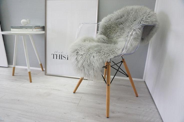 Genuine Rare Scandinavian Sheepskin Rug - Thick Curly Wool - Dyed Silver | Grey | Ash | Tan Mix - SS 61 - MILABERT