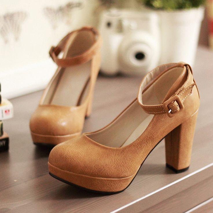Barato Venda nova primavera outono sapatos femininos cinta de moda sapatos de salto alto sapatos de plataforma sapatos de salto grosso, Compro Qualidade Bombas diretamente de fornecedores da China:                                   2013 chegam novas sapatas das mulheres de alta   US $ 3