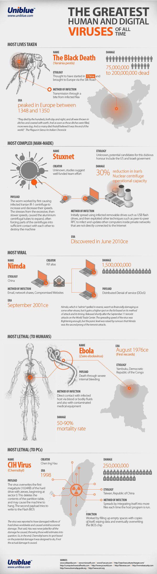 Virus: da Ebola Stuxnet, i più letali per l'uomo e per il pc raccontati in infografica