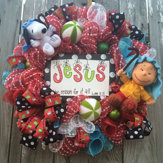 snoopy christmas wreath charlie brown christmas by babamwreaths - Charlie Brown Christmas Decorations
