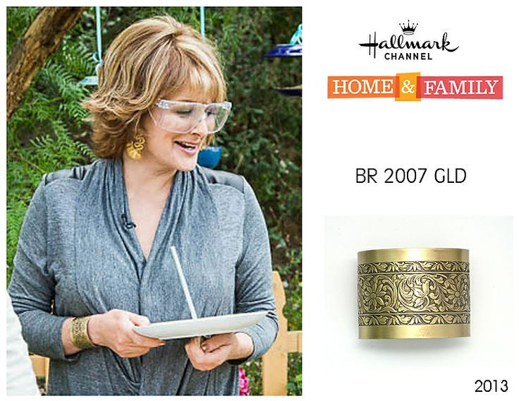 Cristina Ferrare wearing Anne Koplik Designs cuff BR2007GLD on her show Home & Family on Hallmark Channel October 11, 2013. Get yours today at www.annekoplik.com! Available in gold & silver! $22.50. #cuff #akd #celebrity #tv #homeandfamily #homeandfamilytv