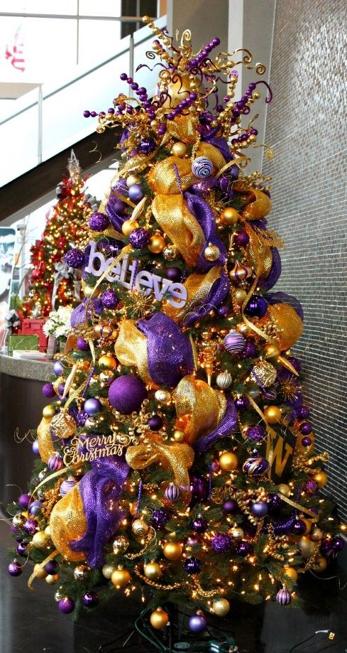 Beautiful purple and gold Christmas tree