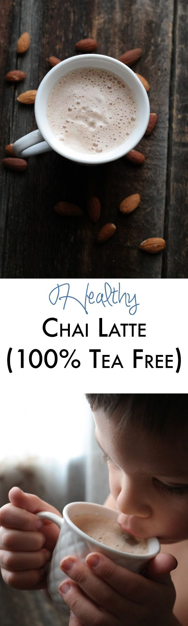 This healthy chai latte is easy to make 100% raw and is a great caffeine free alternative to the sugar filled tea lattes! My kiddos love it too!
