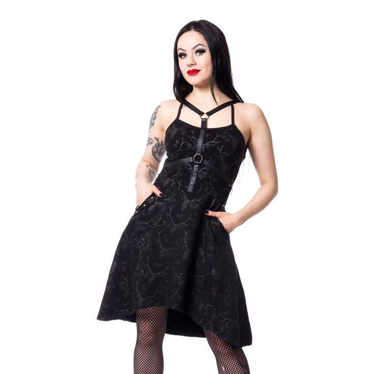 Vixxsin Calista jurk met hertenschedels print en harnas zwart - Gothic