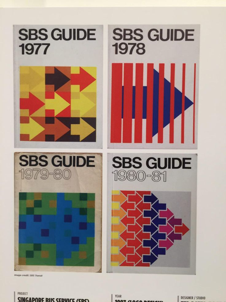 The design of the Singapore Bus Service (SBS) logo and guides have changed over the years. Today, the logo is just made of a simple red design. Back then, the logo was colourful and filled with patterns. The designs are similar back then, making an arrow a main feature in the logo. Now, the logo resembles the letter 'S' - simple and iconic.
