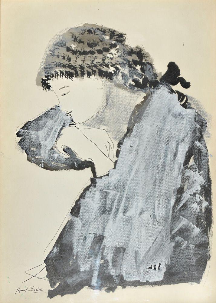 """SOLDI, Raúl  Argentino  1905-1994  """"PENSATIVA""""  Técnica mixta.  Firmada RAÚL SOLDI abajo a la izquierda.  Boceto de esta obra en el reverso.  Medidas: 50 x 35 cm  Ref. En la parte inferior del reverso se lee:  """"Certifico ser el autor del dibujo que figura al dorso firmado abajo a la izquierda. Raúl Soldi 1967""""  Precio estimado: US 2.500 / 3.500"""