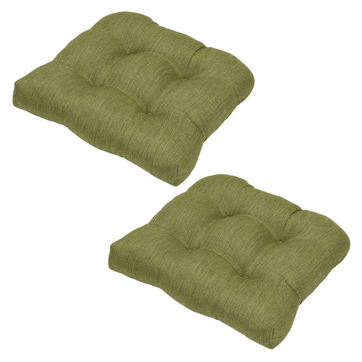 Plantation Patterns Outdoor Tufted Seat Pad 2-piece Set, Green