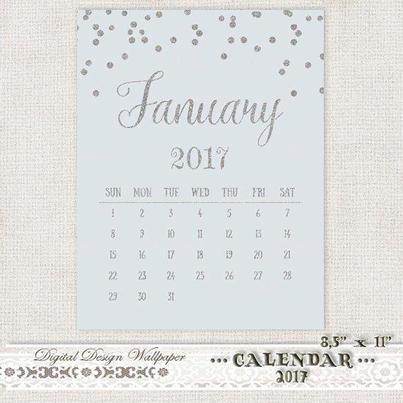 Printable Calendar 2017 Silver Glitter by DigitalDesignPaper