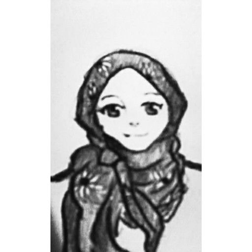 i just drew a random hijab style . contemporary-style