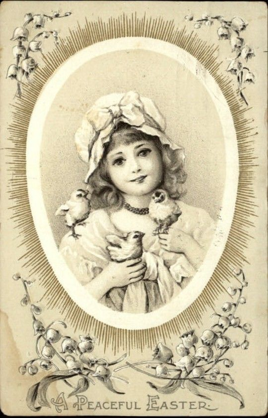 Easter Young Girl w Chicks c1910 Embossed Postcard | eBay