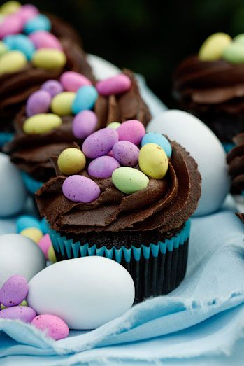 Chocolate cupcakes topped with speckled eggs. Easter can't come soon enough.