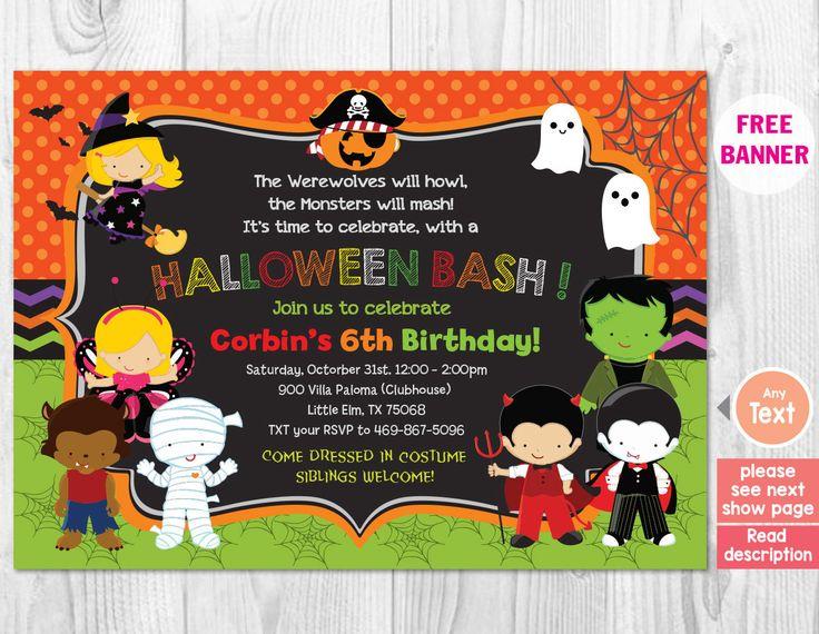 halloween birthday party invitation kids halloween invitation printable costume party invitation halloween party - Kids Halloween Party Invite