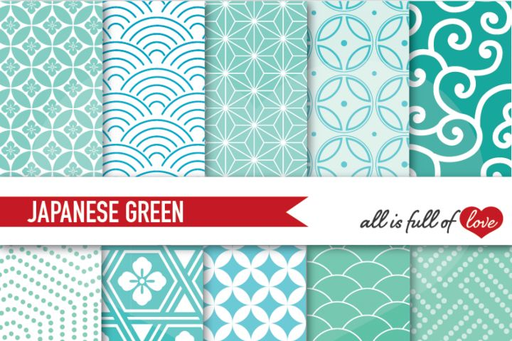 Japanese Background Patterns in Mint green jade and emerald…