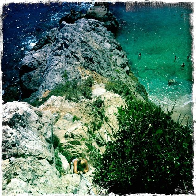 Climbing at Varigotti beach...