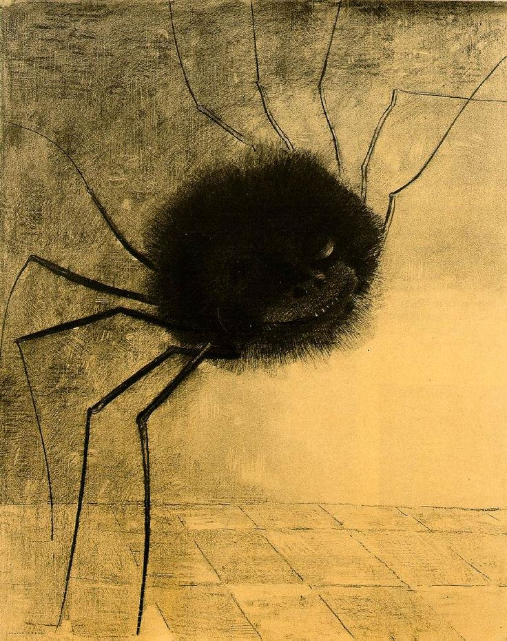 """This piece is known as """"Smiling Spider"""" and was created by Odilon Redon in 1891. Like his work of the """"Crying Spider"""" I am drawn to his wonderful sense of unsettling and distressing artwork. The noir sense of style with this painting makes the spider come to life in a very nightmarish way."""