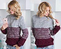 Вязанный свитер бордово-серый