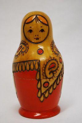RARE Vintage Russian Nesting Doll Matryoshka Folk Art Wood Wooden Figure Toy Box   eBay