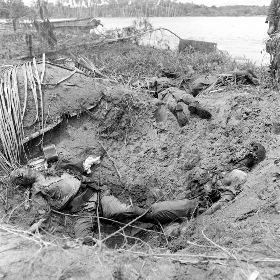 Dead Japanese soldiers, Buna, New Guinea Campaign, WWII.
