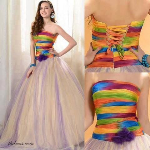 rainbow wedding dress pretty lace