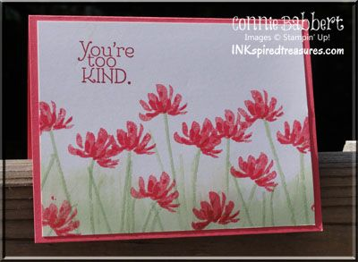SU! Too Kind stamp set; colors are Strawberry Slush, Pistachio Pudding and Cherry Cobbler (sentiment) - Connie Babbert