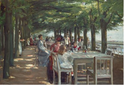 THE TERRACE AT THE RESTAURANT JACOB IN NIENSTEDTEN ON THE ELBE RIVER, 1902