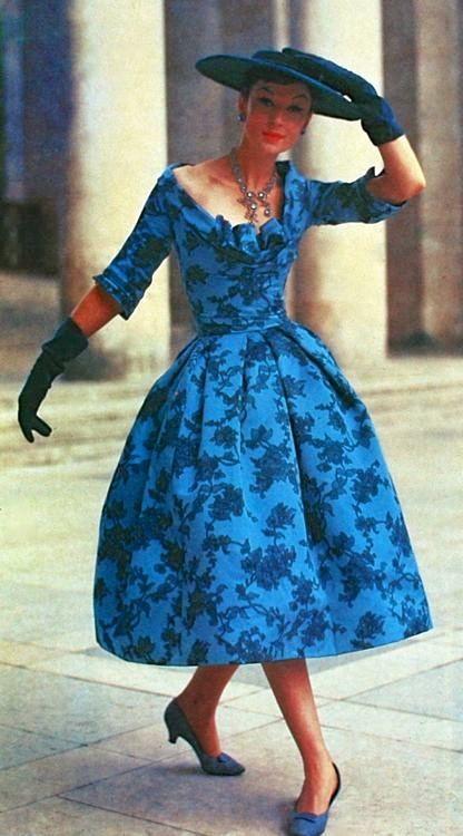 Cocktail dress Christian Dior, 1950 blue floral print dress hat shoes full skirt