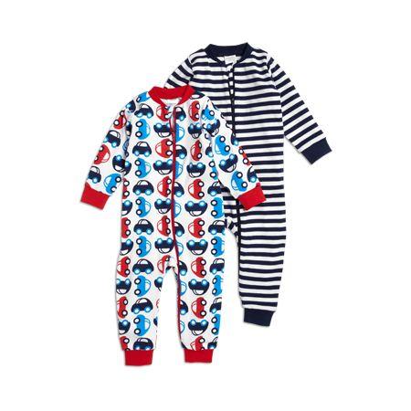 Blå Pyjamas, 2-pack mönstrad pyjamas med dragked...