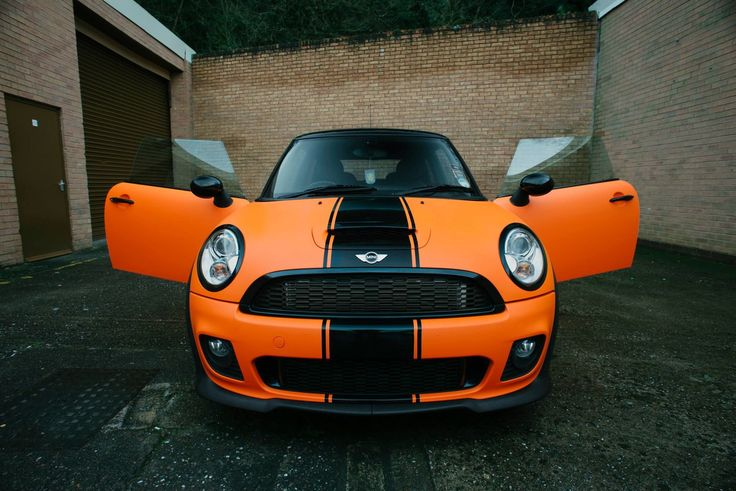 Mini Cooper S Orange Wrap with black stripe. Genius work by Wrap Your Car (Worcestershire UK) #MakeitStick  Via wrapyourcar.co.uk Credit goes to the photographer