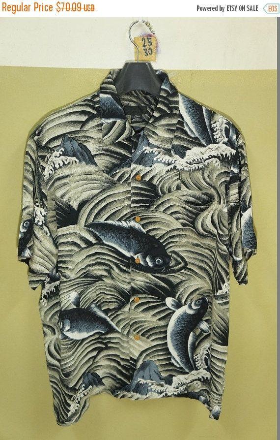 GRANDE vente Vintage japonais Asean Patern Koi Fish Wave soyeux Rayon chemise…