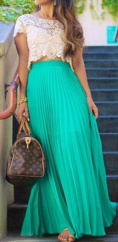 Maxi skirt + lace top ♥