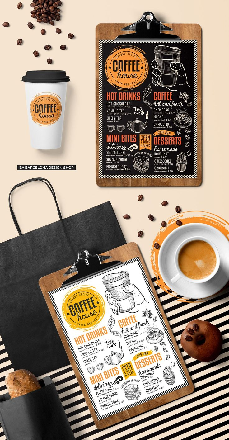 FREE! Trifold + Coffee Chalkboard Coffee menu, Coffee