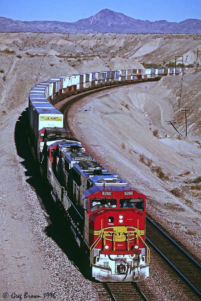 "https://flic.kr/p/AxgGXo   As Long as it Says ""Santa Fe""   An SD75 delivered to BNSF prepares to depart California, southeast of Needles."