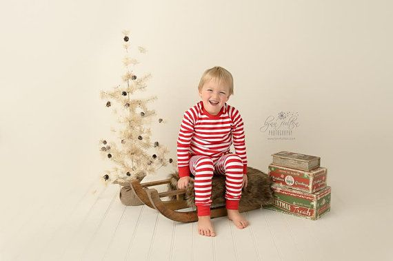 Christmas PJs  Christmas photos  Red Striped PJs  by TeegyTogs