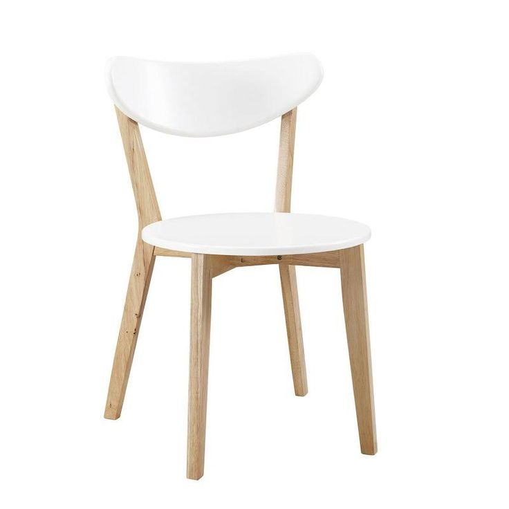 Walker Edison CHWRM2WNL Retro Modern Wood Kitchen Dining Chairs - Set