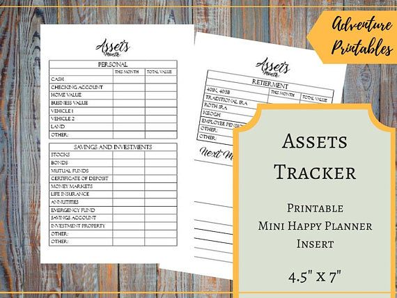 """Assets Tracker for the Mini Happy Planner, Personal Value, Investments Tracker, Pension Value Tracker, Building Weath, Mambi , Create 365  ▶WHAT IS INCLUDED  Assets Tracker Insert design - 1 PDF File Assets Tracker Insert design - 2 JPG files Assets Tracker Insert for printing on A4 - 1 PDF File Assets Tracker Insert for printing - 1 JPG File Assets Tracker Insert for printing on Letter Size - 1 PDF File  ▶ SIZE:  Mini Happy Planner: The design 4.5"""" x 7"""" (11.4 x 17.75 cm) For printing: A4…"""