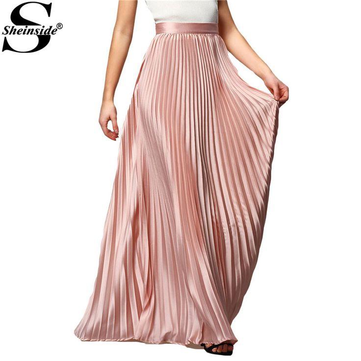 Spring Womens Fashion Designer Elegant Ladies Elastic Waist Pleated Beach Maxi Skirt