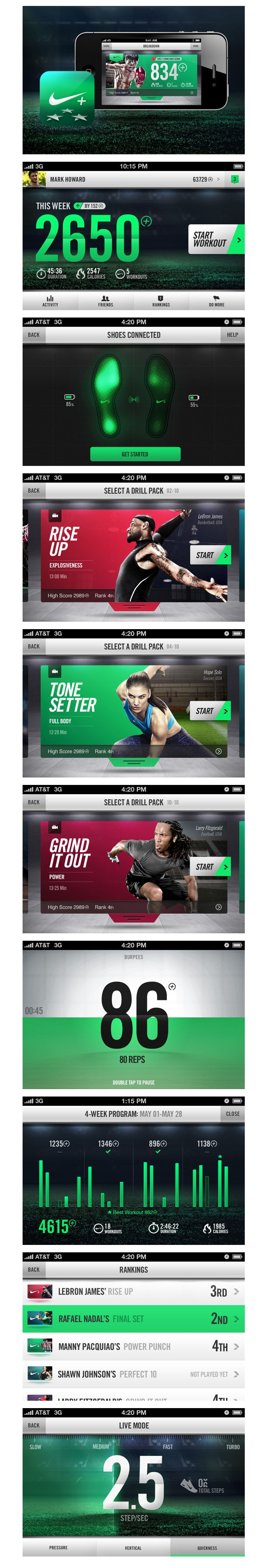 """Nike+ Training on the Behance Network / """"Smart sensors imbedded in the sole of Nike shoes communicate via Bluetooth to an iPhone app to track your sport activity."""""""