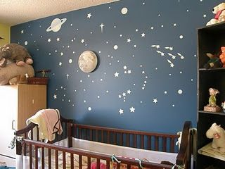 Yup - totally stole this idea!  Love it!  Two flat navy walls w/ hand painted stars and galaxies!  Two flat dark yellow walls with sun and cloud decals!
