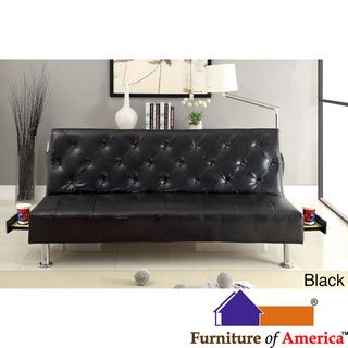 @Overstock - Furniture of America Enzhell Contemporary Tufted Leatherette Futon Sofa with Hidden Tray - The space saver Enzhell is perfect for any small apartment or dorm room. It features padded tufted leatherette upholstery complemented by convenient side accessories of pocket insets and pull-out trays. Nicely elevated with study chrome leg ...