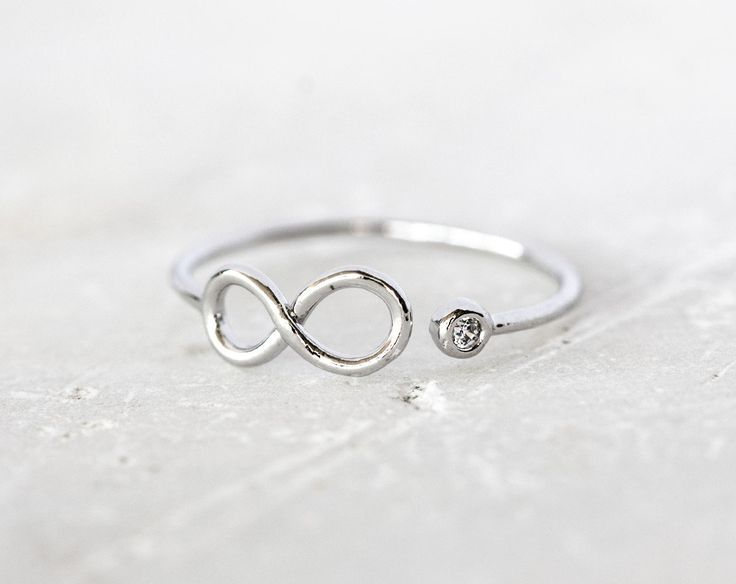 1977_Silver infinity ring, Cubic zirconia ring, Tiny ring, Infinity symbol ring Adjustable ring Jewelry rings Infinite rings Small ring_1 pc by PurrrMurrr on Etsy