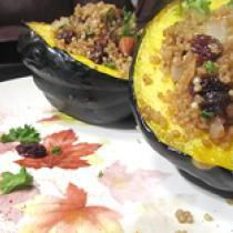 "Vegan Quinoa-Stuffed Acorn Squash Recipe: <a href=""http://vegetarian.about.com/od/specialoccasionrecipe1/ig/Vegetarian-Thanksgiving-Ideas/squash400.htm"">Click here to enlarge image.</a>"