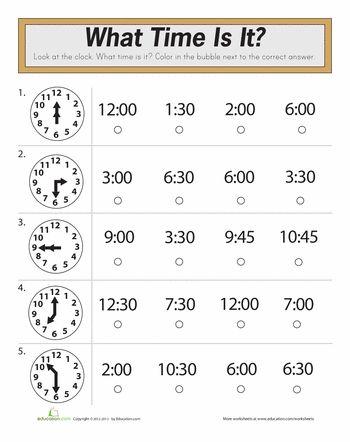 Time Quiz | Worksheet | Education.com | Math practice ...