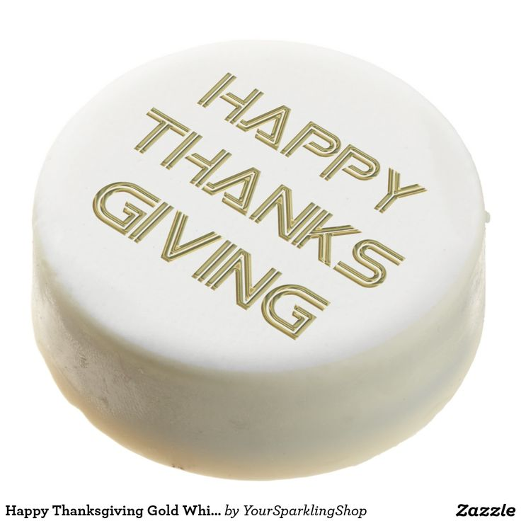 Happy #Thanksgiving Gold White Typography Elegant Party Cookies