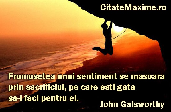"""""""Frumusetea unui sentiment se masoara prin sacrificiul, pe care esti gata sa-l faci pentru el."""" #CitatImagine de John Galsworthy Iti place acest #citat? ♥Like♥ si ♥Share♥ cu prietenii tai. #CitateImagini: #Sentimente #JohnGalsworthy #romania #quotes Vezi mai multe #citate pe http://citatemaxime.ro/"""