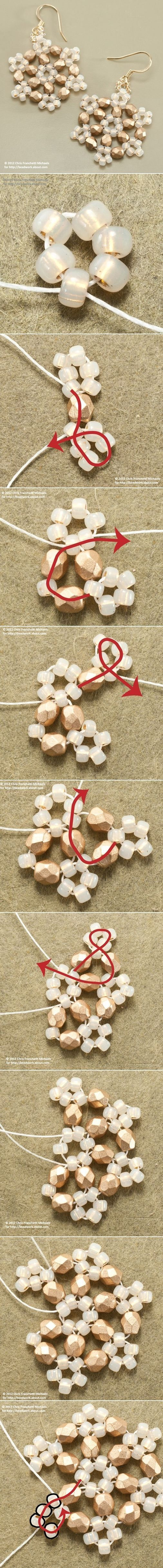 Snowflake Earrings DIY Jewelry Earrings.  Good picture diagram.