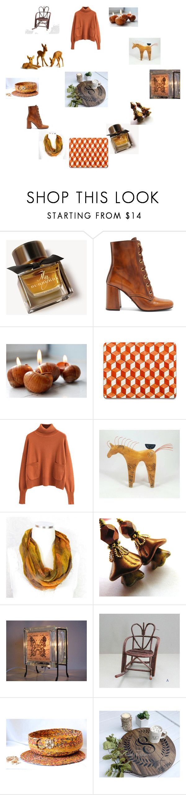 """orange brown gifts"" by einder ❤ liked on Polyvore featuring interior, interiors, interior design, home, home decor, interior decorating, Burberry and Prada"