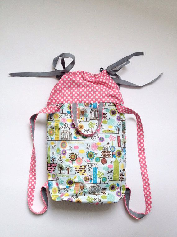 Waterproof Fabric Backpack - student sack, unisex shoulder bag, back to school, daily use - Vinyl Fabric with Pink Polka Dots - $75.00